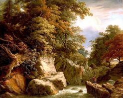 A wooded River landscape with a fisherman on a rock casting his line | William Ashford | Oil Painting
