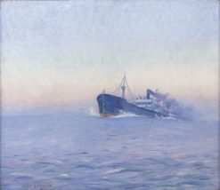 Freighter under Colorful Skies   Clifford Warren Ashley   Oil Painting