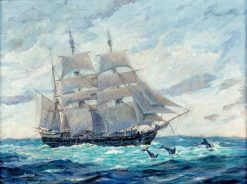 Bark Canton Outward Bound from New Bedford | Clifford Warren Ashley | Oil Painting
