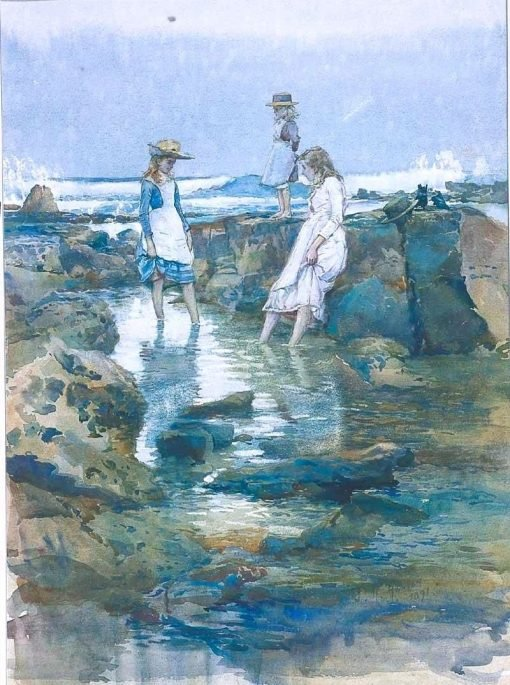 Girls Wading in the Rock Pools | Julian Rossi Ashton | Oil Painting