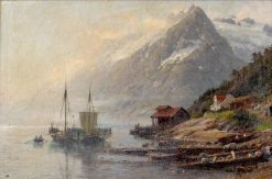 Ship Scene with Mountains | Anders Monsen Askevold | Oil Painting