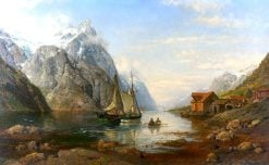 A Fjord view with sailboat and distant steamer | Anders Monsen Askevold | Oil Painting
