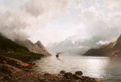 Steamship on a Fjord | Anders Monsen Askevold | Oil Painting