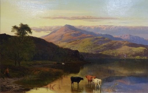Cattle Watering at Sunset | Sidney Richard Percy | Oil Painting