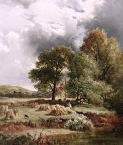 Harvest under an Approaching Storm | Sidney Richard Percy | Oil Painting