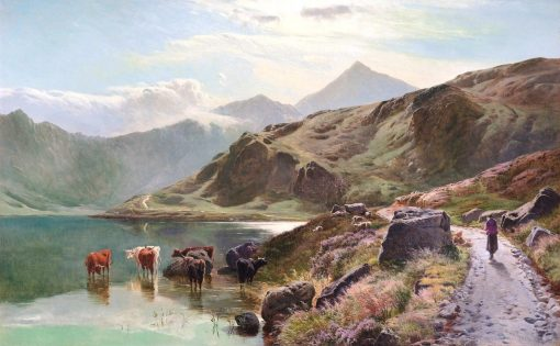 Cattle Watering near Snowdonia | Sidney Richard Percy | Oil Painting