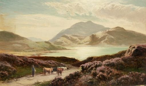 A Figure Leading Cattle down a Loch Side Path | Sidney Richard Percy | Oil Painting