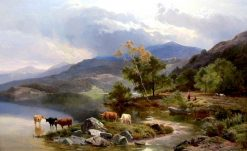 Highland Cattle by the Lochside | Sidney Richard Percy | Oil Painting