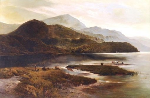 Cattle Watering in a Highland Landscape with a Figure Looking on | Sidney Richard Percy | Oil Painting