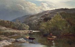 Cattle Watering in the River Lyn