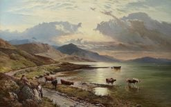 Highland Cattle Watering in a Mountain Loch | Sidney Richard Percy | Oil Painting