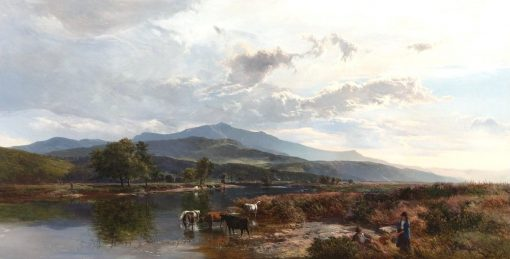 Cattle Watering in a Highland Loch   Sidney Richard Percy   Oil Painting