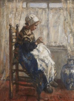 Sewing by the Window | Robert Gemmell Hutchison | Oil Painting