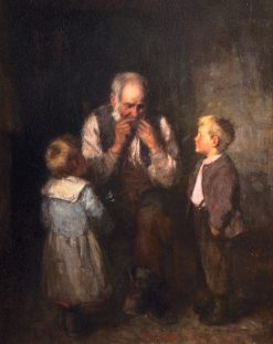 Old man playing a mouth organ | Robert Gemmell Hutchison | Oil Painting