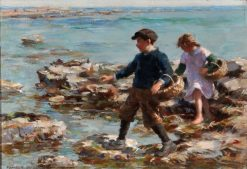 A Girl and Boy Gathering Shellfish on a Rocky Shore | William Marshall Brown | Oil Painting