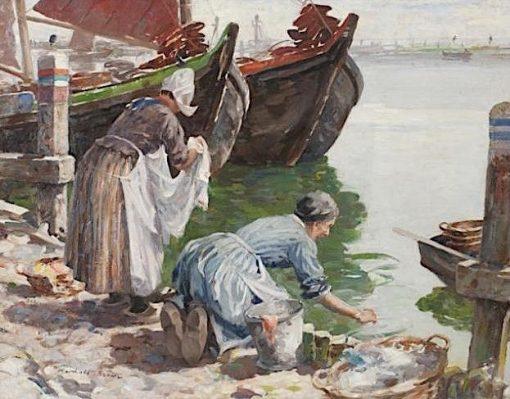 Washerwomen Volendam | William Marshall Brown | Oil Painting