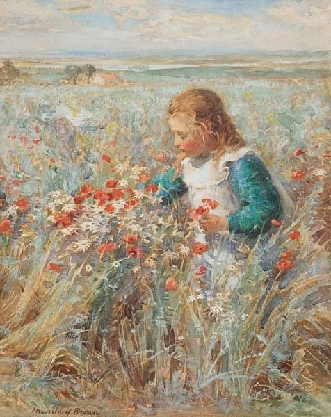 Picking Wild Flowers | William Marshall Brown | Oil Painting