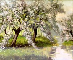 Flowering Trees by a River | Sir David Scott Murray | Oil Painting