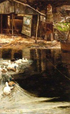 Ducks in the Boatyard | Sir David Scott Murray | Oil Painting