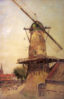 Windmill by the Canal | Sir David Scott Murray | Oil Painting