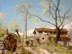 Alpine Farm | Sir David Scott Murray | Oil Painting