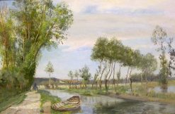 By a French Canal | Sir David Scott Murray | Oil Painting