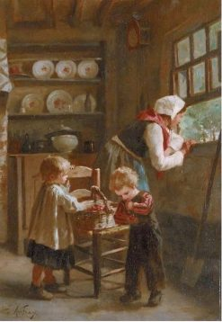 A Basket of Cherries | Joseph Athanase Aufray | Oil Painting