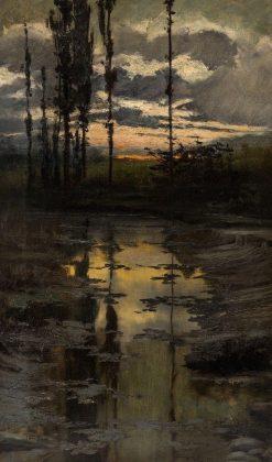 Sunset over a Pond | Enrique Serra y Auque | Oil Painting