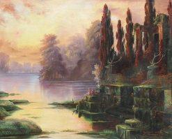 Sunset on a River | Enrique Serra y Auque | Oil Painting
