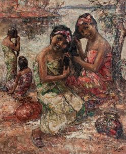 Burmese Girls Washing by the River | Edward Atkinson Hornel | Oil Painting