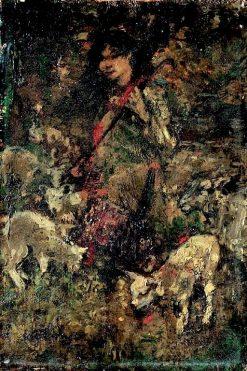 The Shepherdess   Edward Atkinson Hornel   Oil Painting