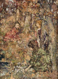 Three Girls Picking Snow Drops | Edward Atkinson Hornel | Oil Painting