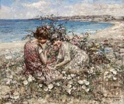 Gathering Wild Flowers Brighouse Bay   Edward Atkinson Hornel   Oil Painting