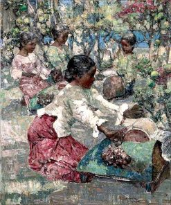 Burmese Lace Makers | Edward Atkinson Hornel | Oil Painting