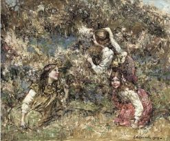 Girls in a Wood | Edward Atkinson Hornel | Oil Painting
