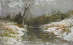 Early Snow and Frost- Bronx River | George Henry | Oil Painting