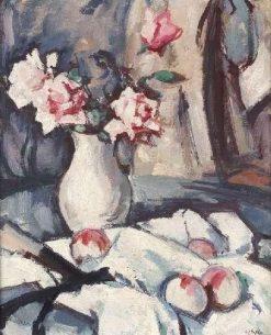 A Still Life of Apples and Pink Roses | Samuel John Peploe | Oil Painting