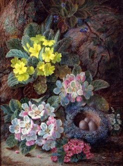 Still Life of Bird's Nest and Primroses | Oliver Clare | Oil Painting