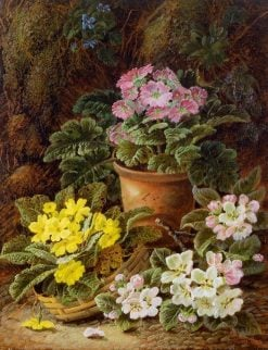 Potted African Violets and Primulas | Oliver Clare | Oil Painting