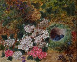 Flowers and Bird's Nest by a Mossy Bank | Oliver Clare | Oil Painting