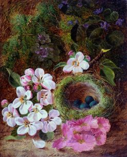 Still Life of Flowers and Bird's Nest | Oliver Clare | Oil Painting