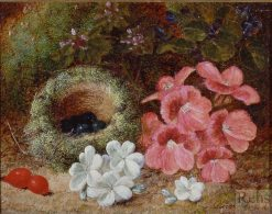 Flowers and a Bird's Nest | Oliver Clare | Oil Painting