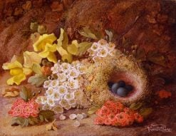 Flowes and Bird's Nest on a Mossy Bank | Vincent Clare | Oil Painting