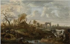 Lanscape with farmhands and livestock at a stream