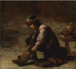 A Young Man Pulling on a Boot | David Teniers (II | Oil Painting