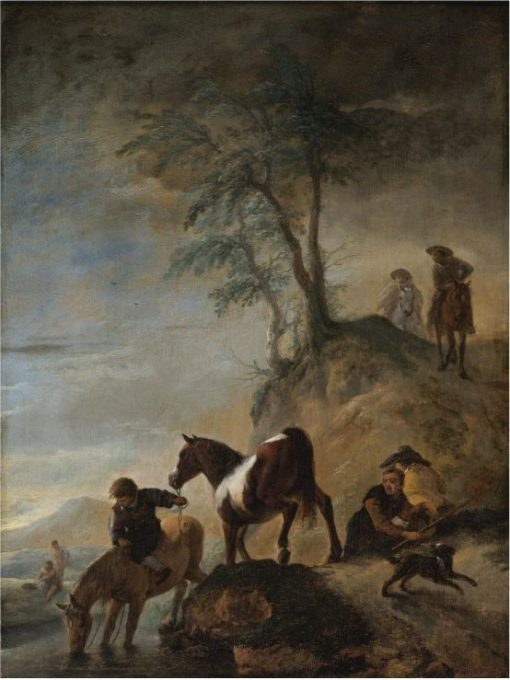 Riders watering their horses at a river | Philips Wouwerman | Oil Painting