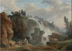 The Cascades of Tivoli with the Temple of Vesta | Hubert Robert | Oil Painting