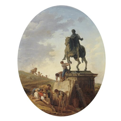 A capriccio with the Statue of Marcus Aurelius and tomb raiders at work | Hubert Robert | Oil Painting
