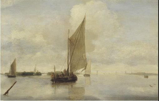 Sailing Vessels and a Rowing Boat on a Calm Sea | Hendrick Jacobsz. Dubbels | Oil Painting