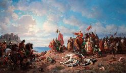 The death of king Wladyslaw II at Varna | Stanislaus Poraj Chlebowski | Oil Painting